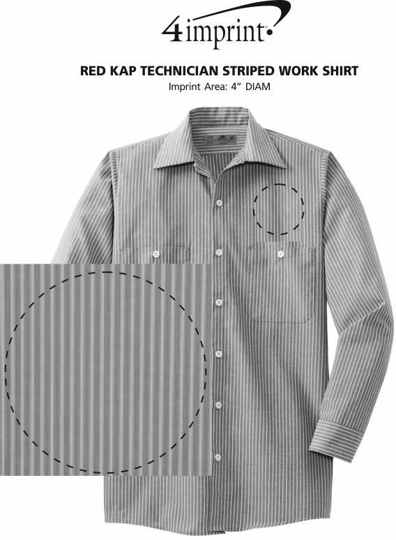 Imprint Area of Red Kap Technician Striped Work Shirt