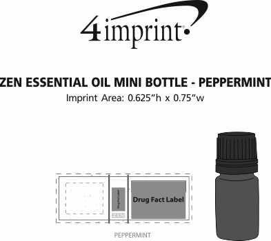 Imprint Area of Zen Essential Oil Mini Bottle - Peppermint