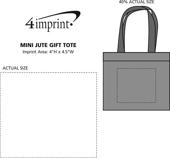 Imprint Area of Mini Jute Gift Tote
