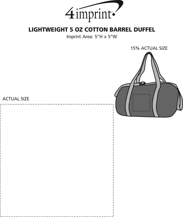 Imprint Area of Lightweight 5 oz. Cotton Barrel Duffel