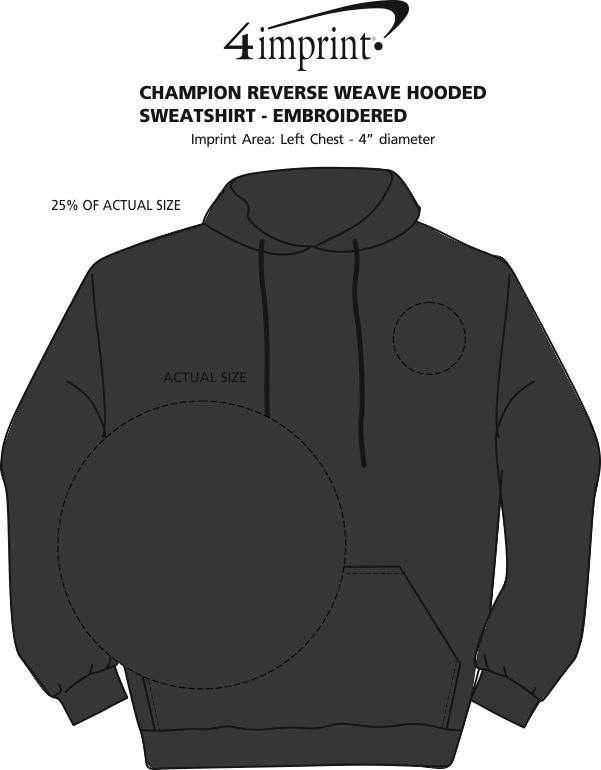 Imprint Area of Champion Reverse Weave Hooded Sweatshirt - Embroidered