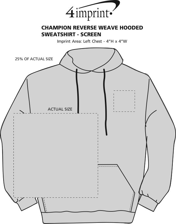 Imprint Area of Champion Reverse Weave Hooded Sweatshirt - Screen