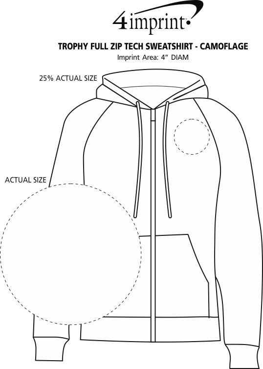 Imprint Area of Trophy Full-Zip Tech Sweatshirt - Camouflage