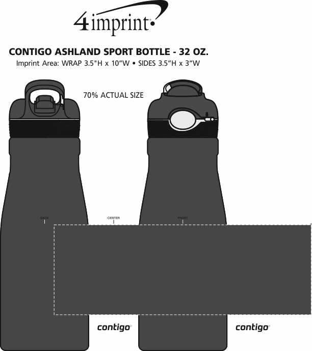Imprint Area of Contigo Ashland Sport Bottle - 32 oz. - 24 hr