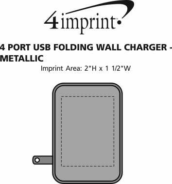 Imprint Area of 4 Port USB Folding Wall Charger - Metallic