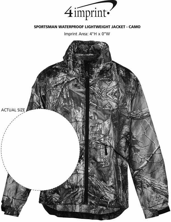 Imprint Area of Sportsman Waterproof Lightweight Jacket - Camo