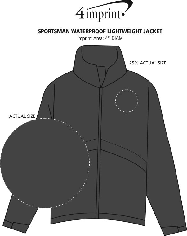 Imprint Area of Sportsman Waterproof Lightweight Jacket