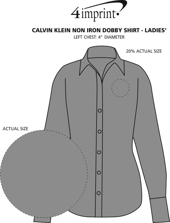 Imprint Area of Calvin Klein Non Iron Dobby Shirt - Ladies'