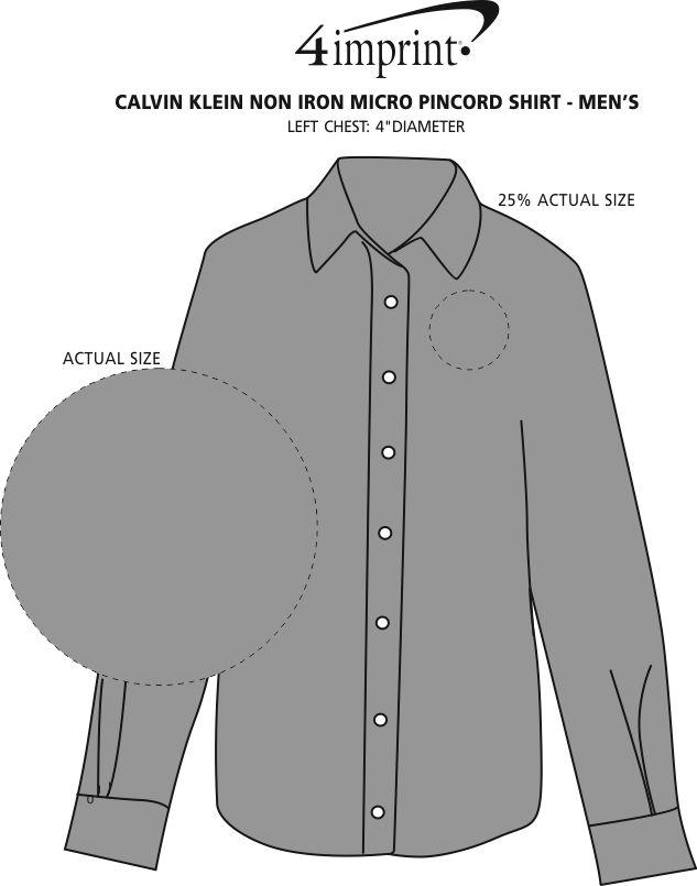 Imprint Area of Calvin Klein Non Iron Micro Pincord Shirt - Men's