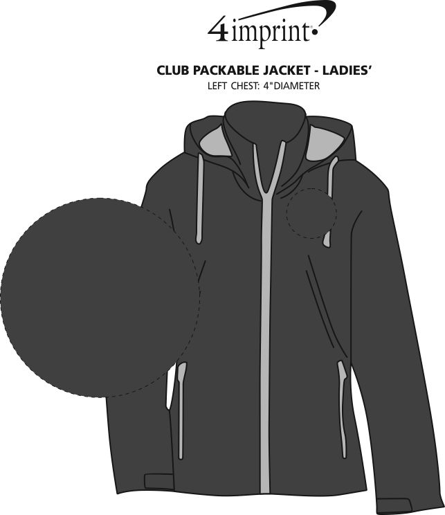 Imprint Area of Club Packable Jacket - Ladies'