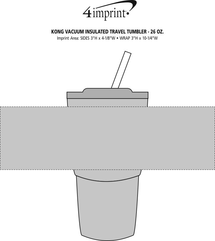 Imprint Area of Kong Vacuum Insulated Travel Tumbler - 26 oz. - Stainless Steel