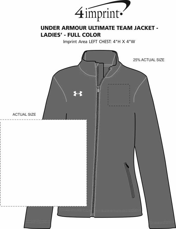 Imprint Area of Under Armour Ultimate Team Jacket - Ladies' - Full Color