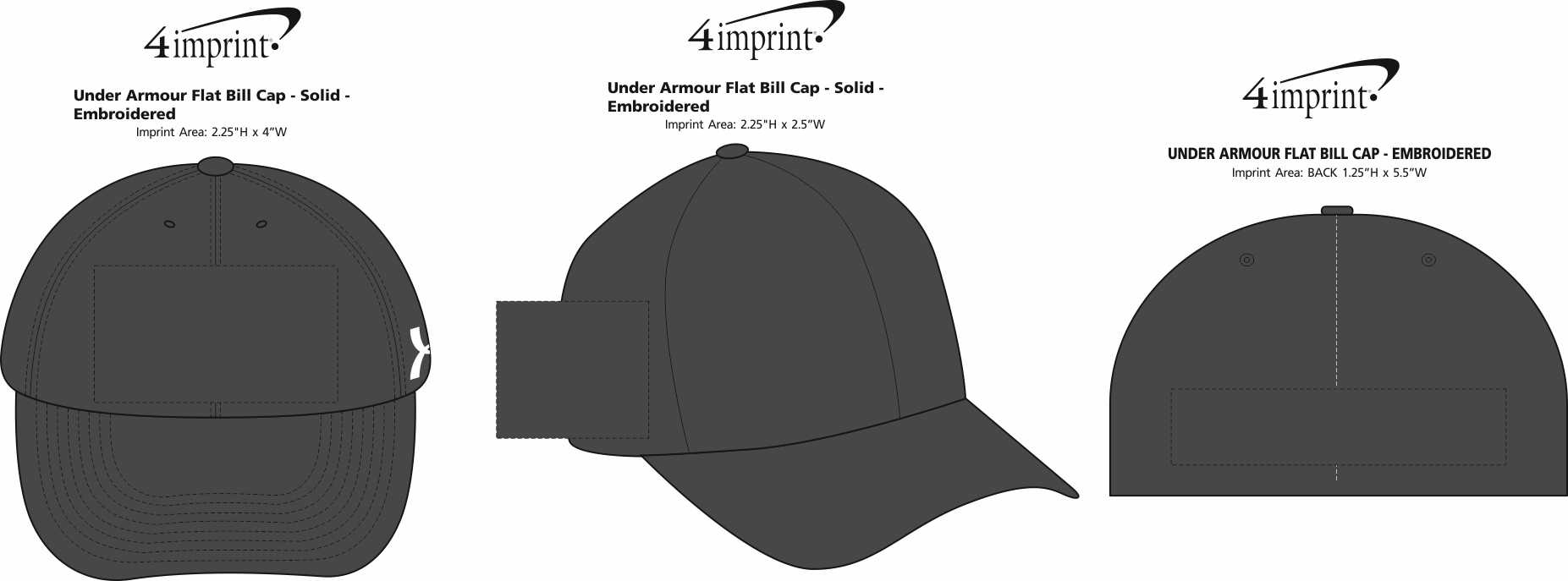 Imprint Area of Under Armour Flat Bill Cap - Solid - Embroidered