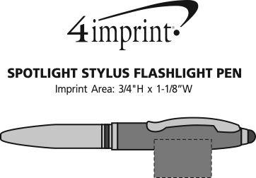 Imprint Area of Spotlight Stylus Flashlight Pen