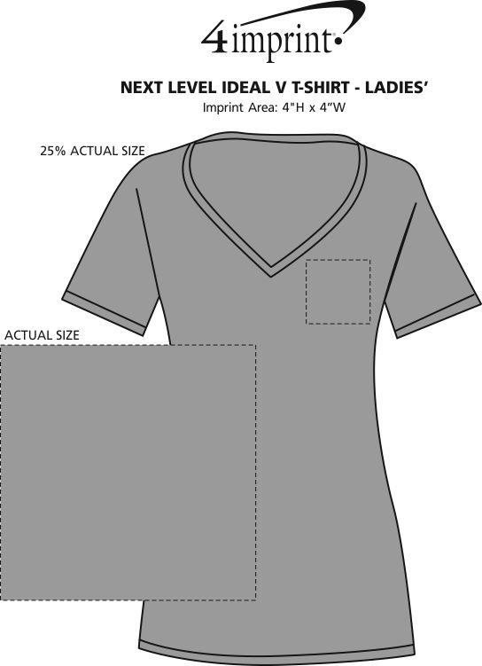 Imprint Area of Next Level Ideal V-Neck T-Shirt - Ladies'