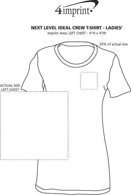 Imprint Area of Next Level Ideal Crew T-Shirt - Ladies'