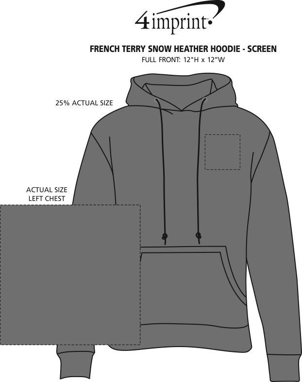 Imprint Area of French Terry Snow Heather Hoodie - Screen