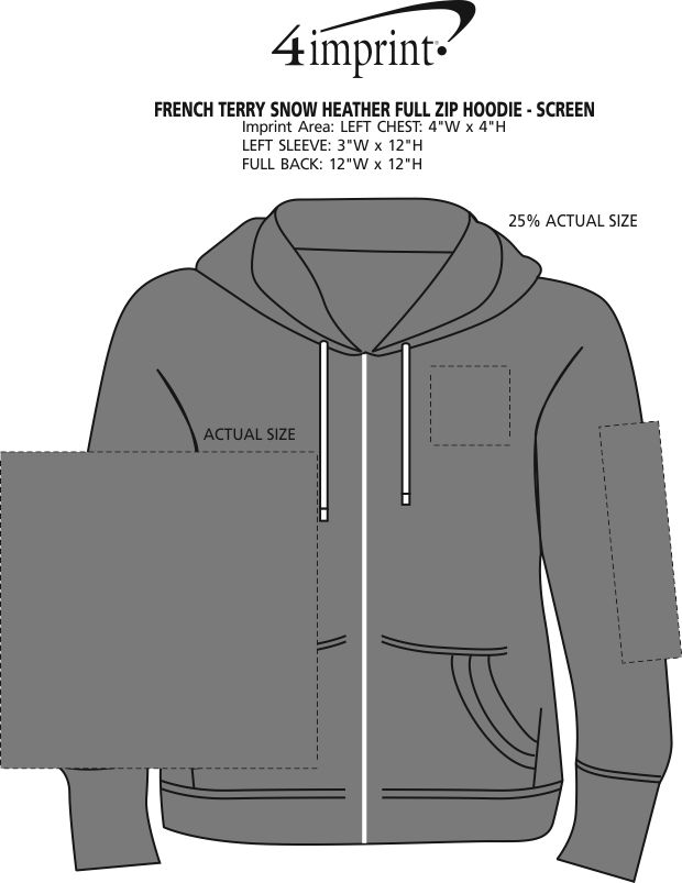 Imprint Area of French Terry Snow Heather Full-Zip Hoodie - Screen