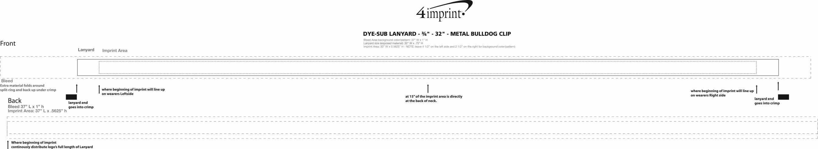 "Imprint Area of Dye-Sub Lanyard - 3/4"" - 32"" - Metal Bulldog Clip"