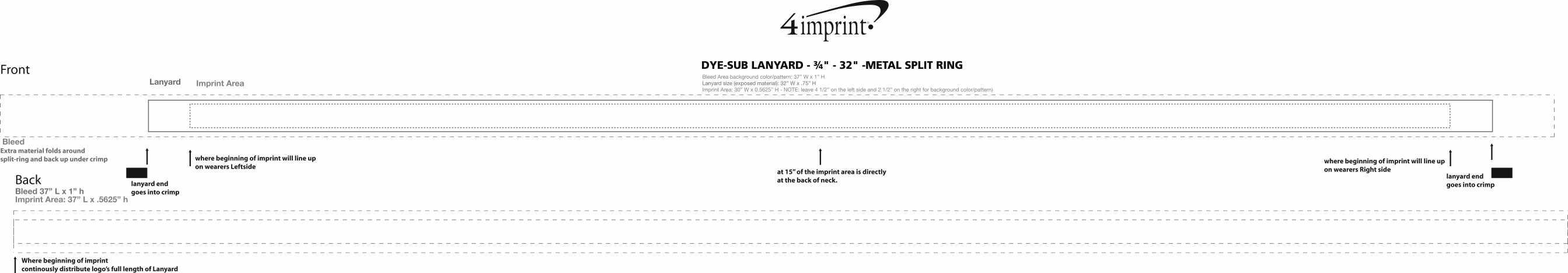 """Imprint Area of Dye-Sub Lanyard - 3/4"""" - 32"""" - Metal Split Ring"""