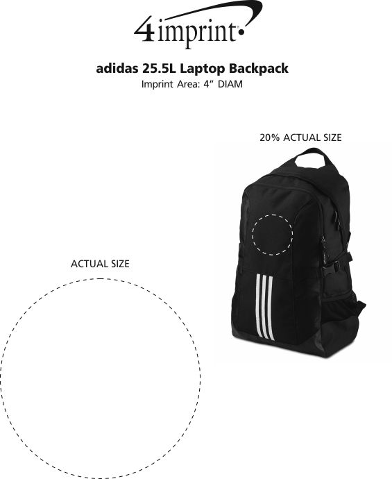 Imprint Area of adidas 25.5L Laptop Backpack
