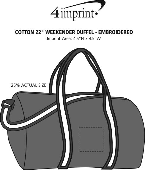 "Imprint Area of Cotton 22"" Weekender Duffel - Embroidered"