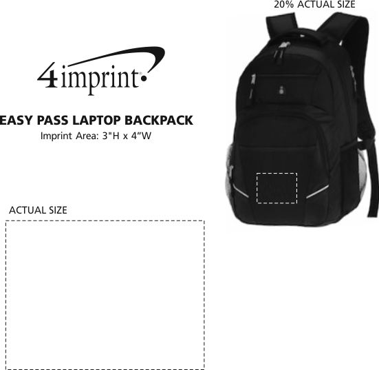 Imprint Area of Easy Pass Laptop Backpack
