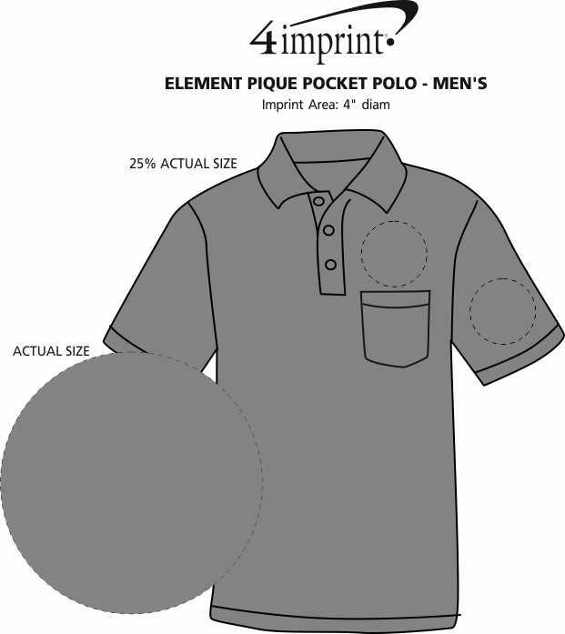 Imprint Area of Element Pique Pocket Polo - Men's