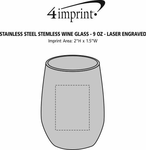 Imprint Area of Stainless Steel Stemless Wine Glass - 9 oz. - Laser Engraved