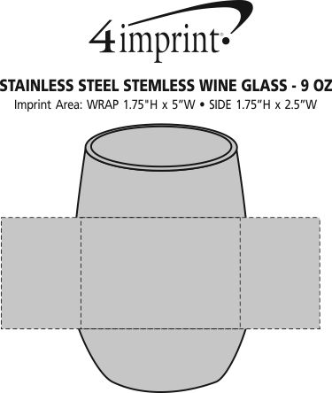 Imprint Area of Stainless Steel Stemless Wine Glass - 9 oz.