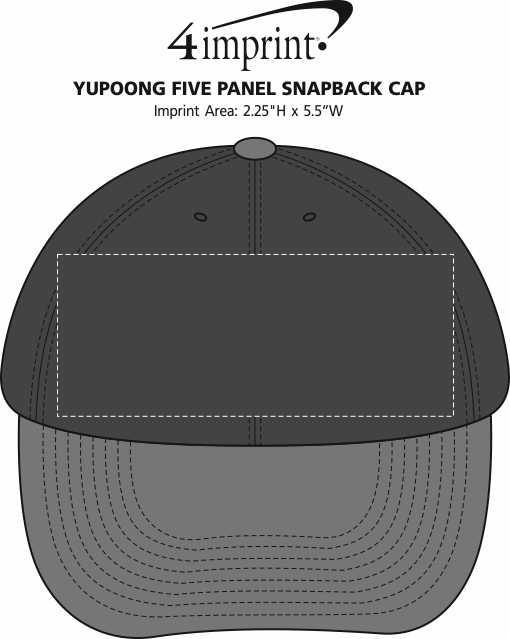 Imprint Area of Yupoong Five Panel Snapback Cap