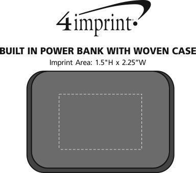 Imprint Area of Built-in Cable Power Bank with Woven Case