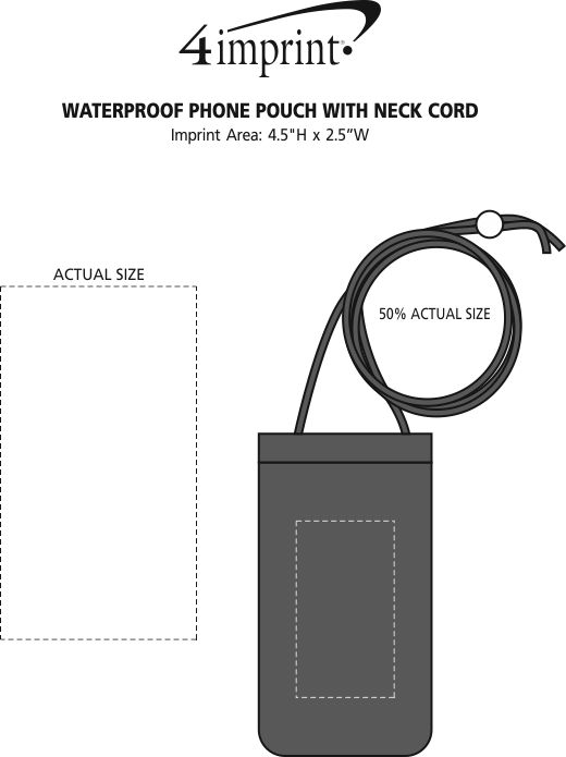 Imprint Area of Waterproof Phone Pouch with Neck Cord