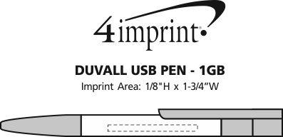 Imprint Area of Duvall USB Pen - 1GB