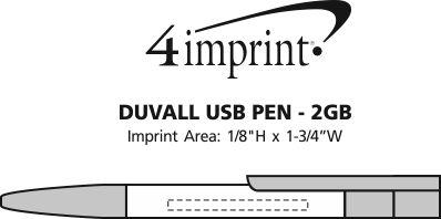 Imprint Area of Duvall USB Pen - 2GB