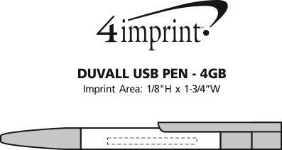 Imprint Area of Duvall USB Pen - 4GB