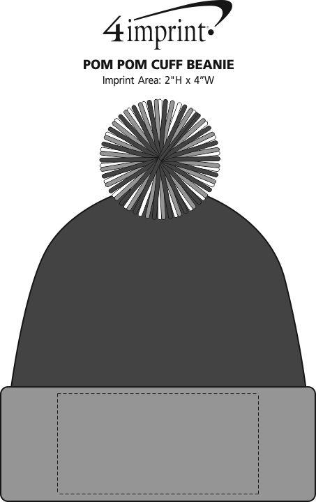 Imprint Area of Pom Pom Cuff Beanie