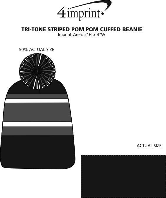 Imprint Area of Tri-Tone Striped Pom Pom Cuff Beanie