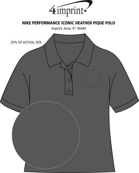 Imprint Area of Nike Performance Iconic Heather Pique Polo