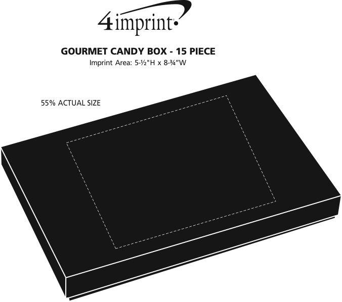 Imprint Area of Gourmet Candy Box - 15 piece