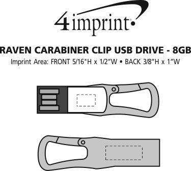Imprint Area of Raven Carabiner Clip USB Drive - 8GB