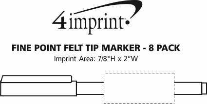 Imprint Area of Fine Point Felt Tip Pen Marker - 8 Pack