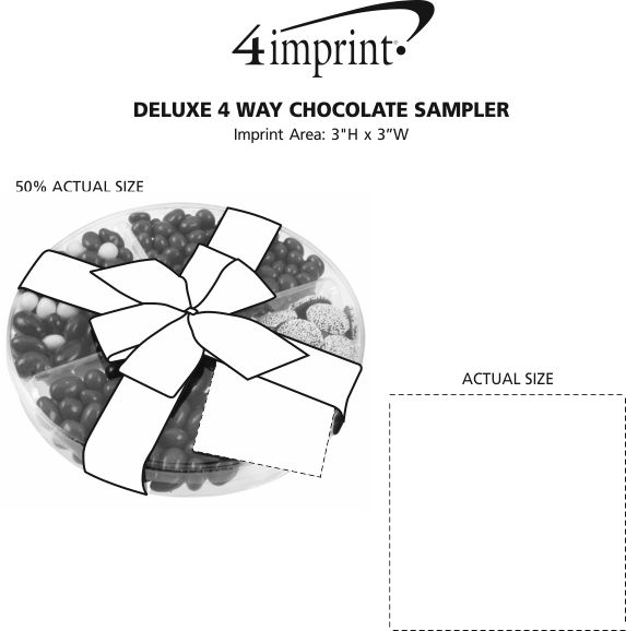 Imprint Area of Deluxe 4 Way Chocolate Sampler