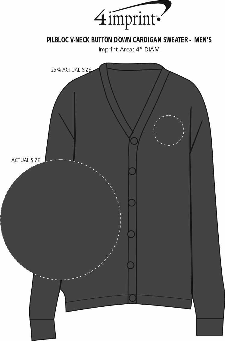 Imprint Area of Pilbloc V-Neck Button Down Cardigan Sweater - Men's