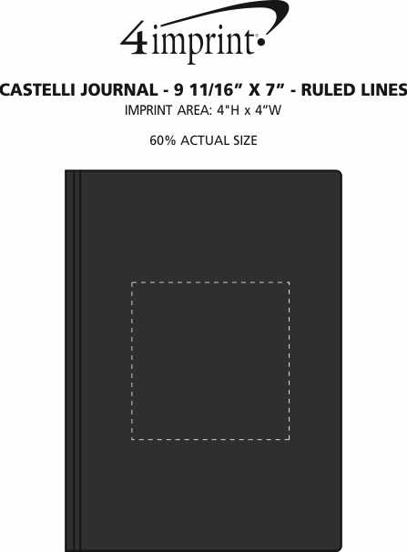 """Imprint Area of Castelli Journal - 9-11/16"""" x 7"""" - Ruled Lines"""