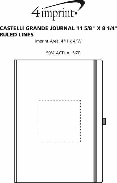 "Imprint Area of Castelli Grande Journal - 11-5/8"" x 8-1/4"" - Ruled Lines"