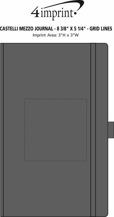 "Imprint Area of Castelli Mezzo Journal - 8-3/8"" x 5-1/4"" - Grid Lines"