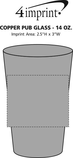 Imprint Area of Copper Pub Glass - 14 oz.