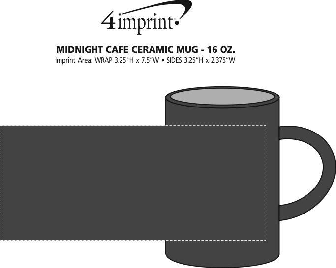 Imprint Area of Midnight Cafe Ceramic Mug - 16 oz.
