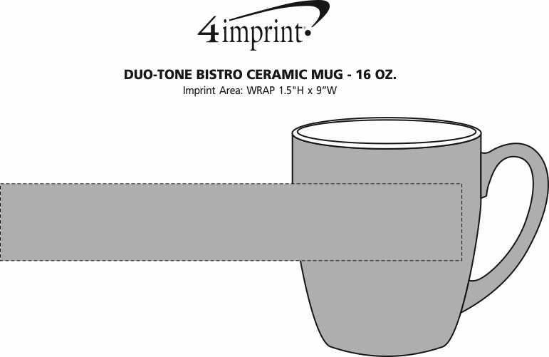 Imprint Area of Duo-Tone Bistro Ceramic Mug - 16 oz.